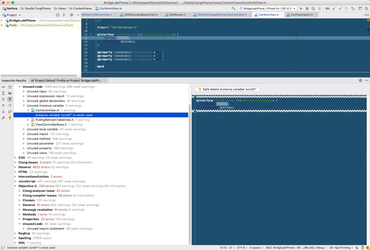 AppCode-code inspect