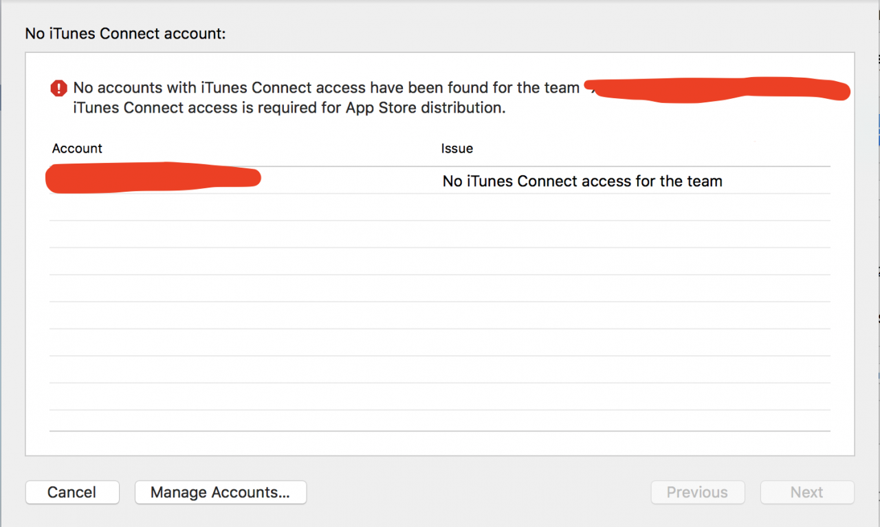 No accounts with iTunes Connect access have been found for the team