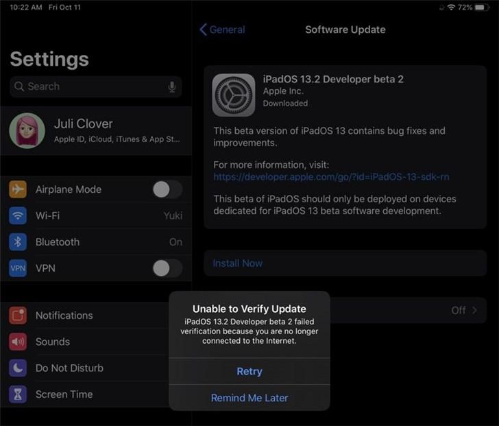 部分iPad Pro用户升级iPadOS 13.2 Beta 2后设备变砖