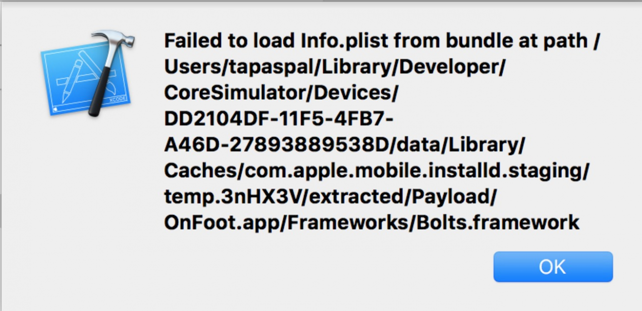 Failed to load Info.plist from bundle at path XXX