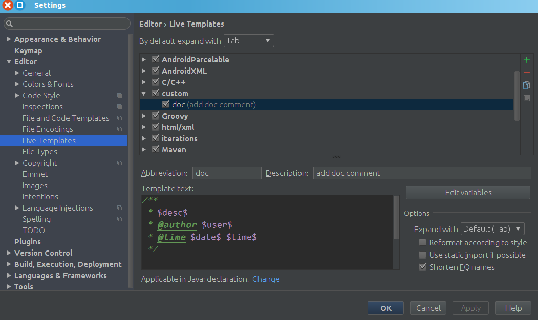android studio 新建函数注释模板
