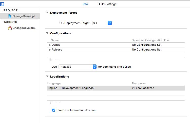 Xcode Localizations Change Development Language (Xcode 本地化 修改默认的开发语言)