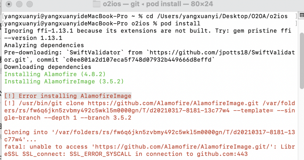 """pod install 报错 出现 """"Failed to connect to github.com port 443: Operation timed out""""解决方案"""
